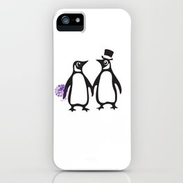 Wedding Penguins, animal lovers, wedding gift, animal illustration, zoo gift iPhone Case