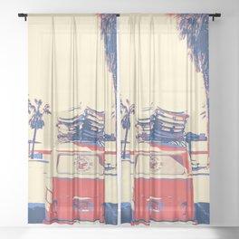 Travel van old school Sheer Curtain