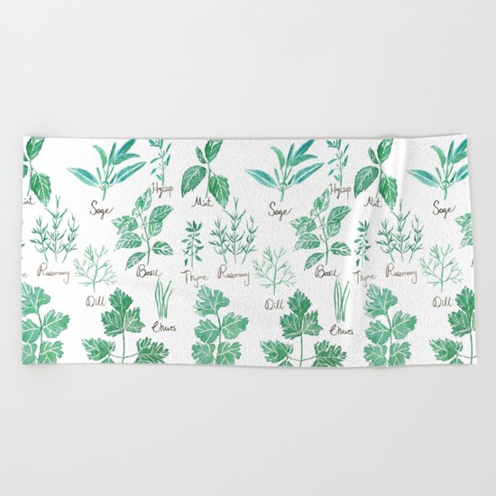 green herbs family watercolor Beach Towel