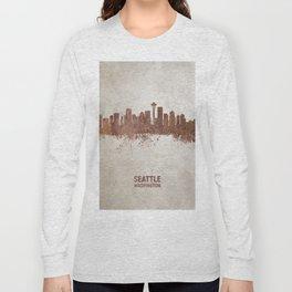 Seattle Washington Rust Skyline Long Sleeve T-shirt