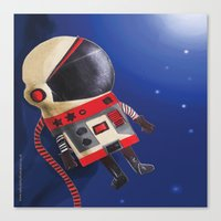 spaceman Canvas Prints featuring Spaceman by Sally Darby Illustration