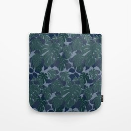 Tropical Blue and Turquoise Monstera Plant Pattern Tote Bag