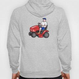 Gardener Mowing Rideon Lawn Mower Cartoon Hoody
