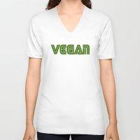 vegan V-neck T-shirts featuring Vegan #1 by Jeremy Jon Myers