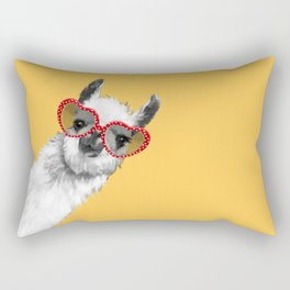 Fashion Hipster Llama with Glasses Rectangular Pillow