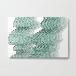 Multiplied Parallel Waves Lines in Light Pastel Blue No.: 02 Metal Print