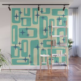 Retro Mid Century Modern Abstract Pattern 577 Turquoise Blue Wall Mural