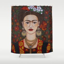 Frida with butterflies Shower Curtain
