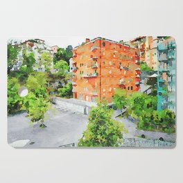 Red buildings Cutting Board