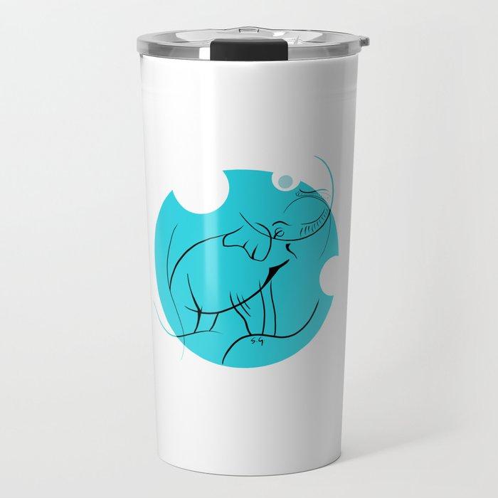 Elephant in Lines Travel Mug