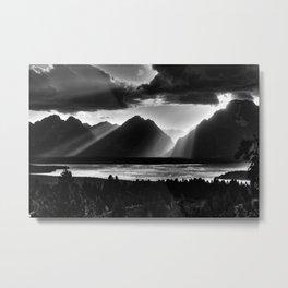 Grand Teton Light Beams Metal Print
