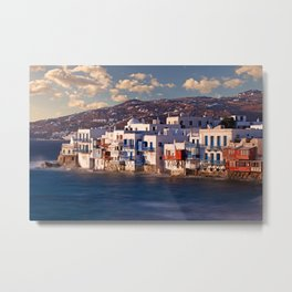 The picturesque Little Venice in Mykonos, Greece Metal Print