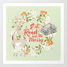 Eat, Read & Be Merry - Deer Art Print