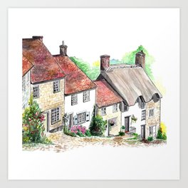 Gold Hill, Shaftesbury, Dorset, England Art Print