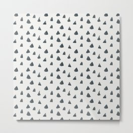 Geometrical black white hand painted watercolor triangles Metal Print