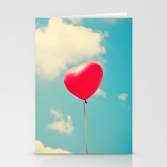 Love is in the air (Red Heart Balloon on a Retro Blue Sky) Stationery Cards