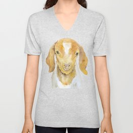 Nubian Goat Head Watercolor Unisex V-Neck