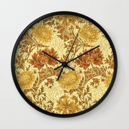 William Morris Chrysanthemums, Mustard Gold Wall Clock