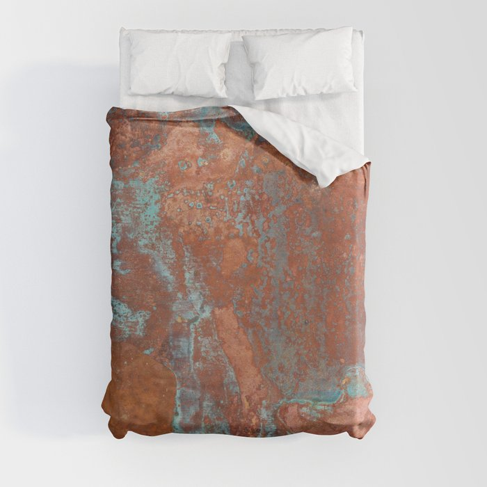 Tarnished Metal Copper Texture - Natural Marbling Industrial Art Duvet Cover