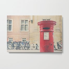 Red letter box in Cambridge, England print Metal Print