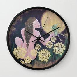 Shared Beauty Under the Golden Moon Wall Clock