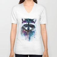 raccoon V-neck T-shirts featuring Raccoon by Slaveika Aladjova