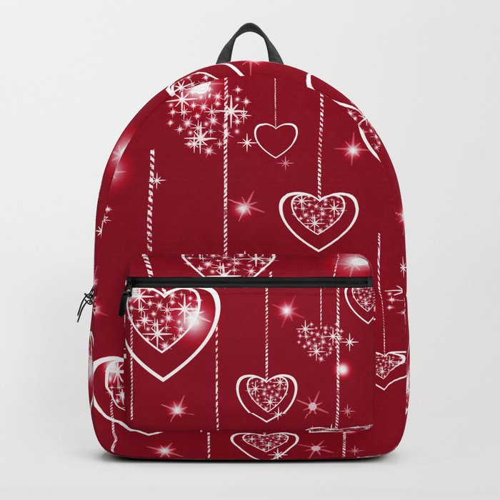 Bright openwork hearts on a red background. Backpack