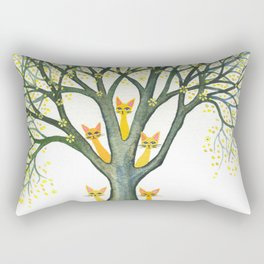 Odessa Whimsical Cats in Tree Rectangular Pillow