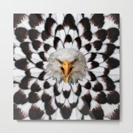 Eagle and feather Pattern Metal Print