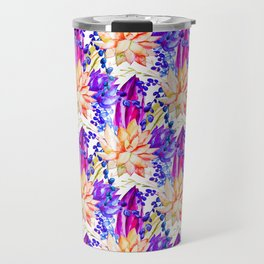 Hand painted orange purple navy blue watercolor cactus floral Travel Mug