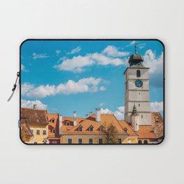 Medieval Houses Of Sibiu City In Romania, Urban Skyline, Architecture Photo, Travel Wall Art Print Laptop Sleeve