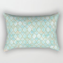 Luxury Aqua and Pink and Gold oriental pattern Rectangular Pillow