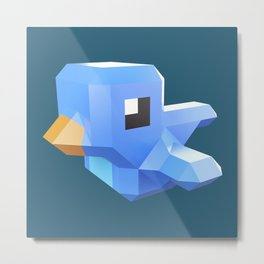 Cute low-poly Twitter bird character Metal Print