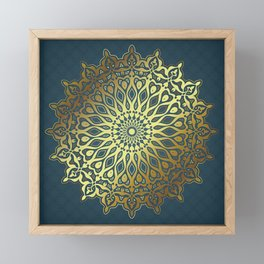 Blue Golden Mandala Framed Mini Art Print