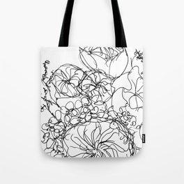 Peony - Black and White Tote Bag