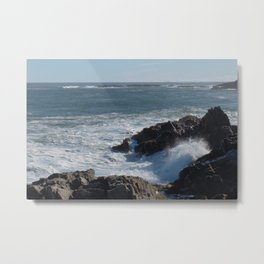 Frothy Seas with a Distant Lighthouse Metal Print
