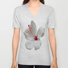 Pure White Hibiscus Tropical Flower Unisex V-Neck