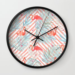 tropical leaves and pink flamingo Wall Clock
