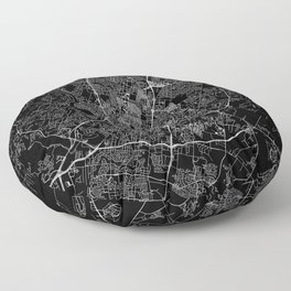 Austin Black Map Floor Pillow