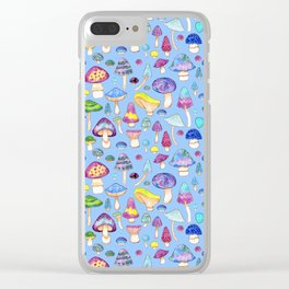 Watercolor Mushroom Pattern on Blue Clear iPhone Case