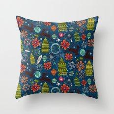 joyous jumble indigo Throw Pillow