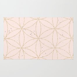 peach speckled with rose gold geometry pattern Rug