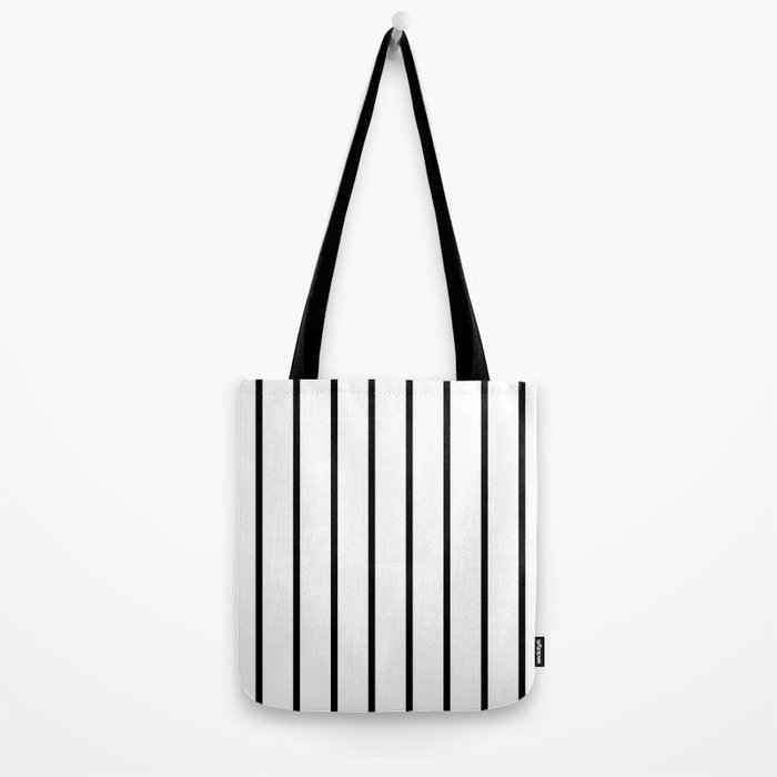 Vertical Lines (Black & White Pattern) Tote Bag