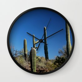 Saguaro Cactus at Picture Rocks I Wall Clock