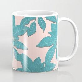 Elegant tropical Teal leaves Pink design Coffee Mug