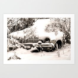 Abandoned Car in Frosty Snow Sepia Art Print
