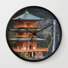 Pagoda and Nachi Falls in the Wakayama Prefecture, Japan Wall Clock