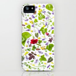 Leaves and flowers pattern (27) iPhone Case