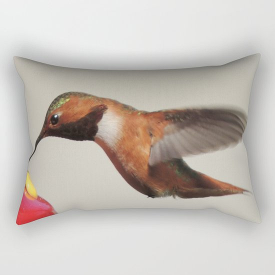 Rufous in for a Quick Lunch Rectangular Pillow