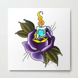 Neo-traditional Rose & Candle Metal Print